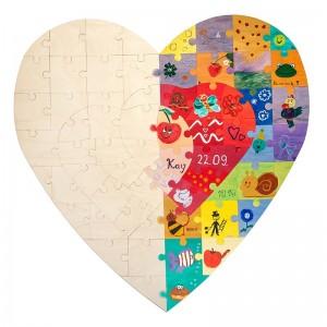 Holzpuzzle Herz vorher nachher